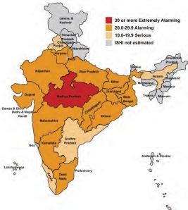 India State Hunger Index Map (By IFPRI)